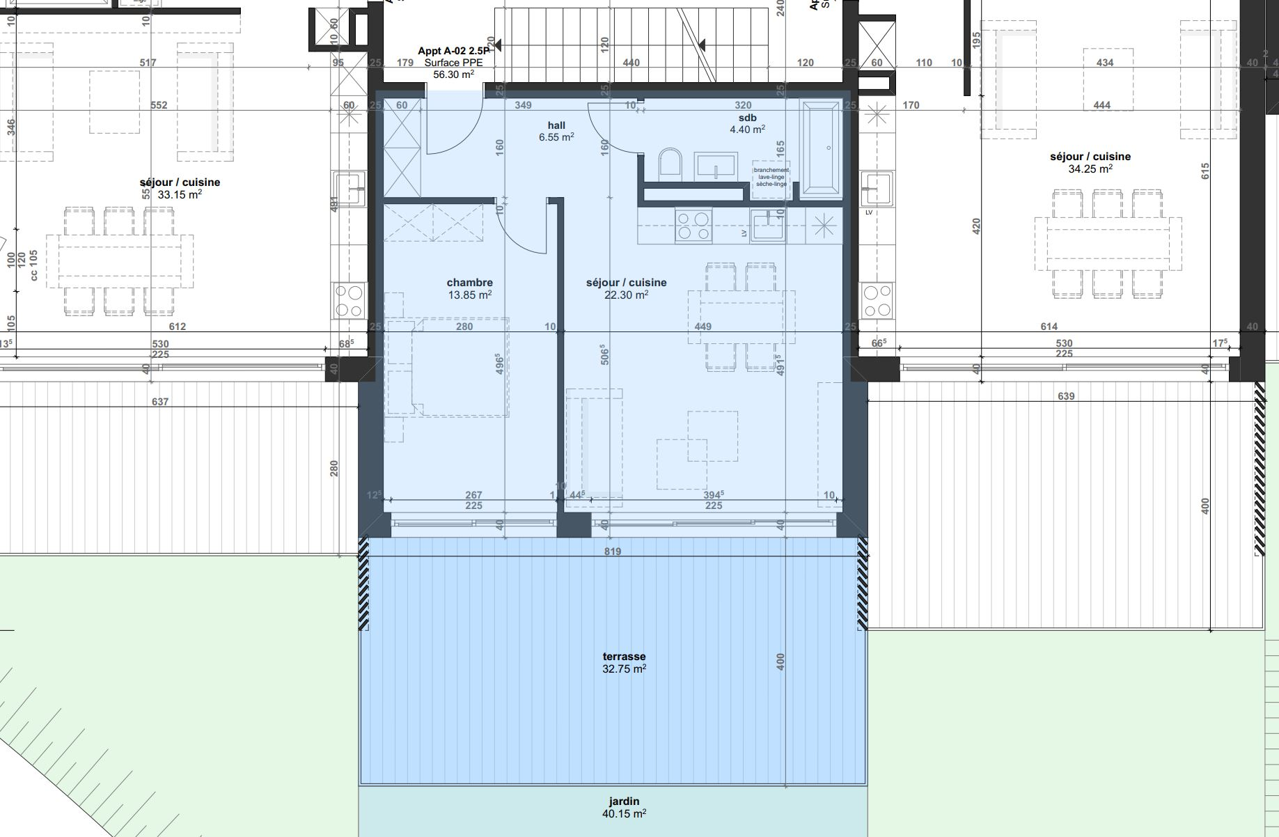 Plan architecte - Appartement 2.02